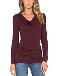 Damen Solide Street Schick Lässig/Alltäglich T-shirt,Kapuze Frühling / Herbst Langarm Rot Polyester Mittel