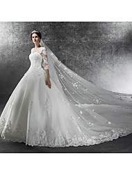Ball Gown Wedding Dress Cathedral Train Jewel Tulle with Appliques / Beading