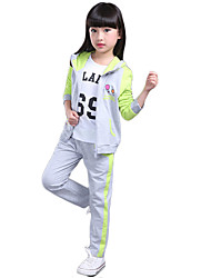 Girl's Cotton Spring/Autumn Sports Suits Fashion Youth Hoodies And Pants Three-piece Set