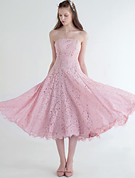 Tea-length Lace Bridesmaid Dress A-line Strapless with Lace