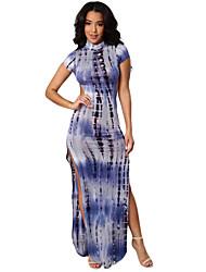 Women's Open Back Tie Dye Print Cheongsam Maxi Dress