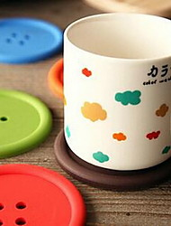 Cute Round Colorful Buttons Silica Gel Cup Mat
