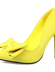 Women's Shoes Suede Spring / Fall Pointed Toe Heels Wedding Stiletto Heel Bowknot Black / Blue / Yellow / Pink / Red