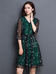 Women's Going out / Plus Size Sophisticated A Line Dress,Print V Neck Above Knee ¾ Sleeve Green Polyester Spring Mid Rise Micro-elastic