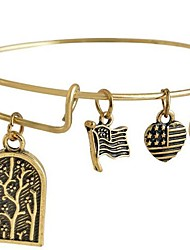 Women's Fashion Lovely Letter Pattern Golden Copper Charm Bracelet