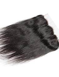 10''-20'' Schwarz per Hand gebunden Gerade Echthaar Schließung Mittelbraun Schweizer Spitze 30-90g Gramm Durchschnittlich Cap Größe