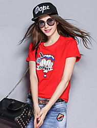 Sybel Women's Going out /  Cute / Street chic Summer / Fall T-shirt,Solid Round Neck Short Sleeve Red / White
