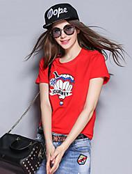 mulheres Sybel de sair / bonito / street chique t-shirt / queda verão, em torno do pescoço manga curta sólido vermelho / branco