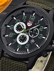 Masculino Relógio Militar Relógio de Pulso Quartzo / Couro Banda Casual Preta Preto Café Verde Branco / azul fluorescência