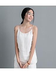 Women's Going out /  Cute / Street chic Summer Tank Top,Solid Strap Sleeveless White / Black Linen Medium