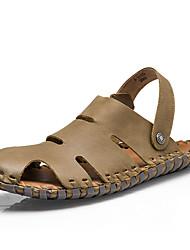 Men's Sandals Summer Open Toe / Sandals Leather Casual Flat Heel Others Brown / Khaki Walking