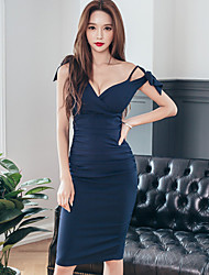 Women's Party/Cocktail Sexy Bodycon Dress,Solid Deep V Knee-length Sleeveless Blue Polyester Summer