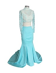 Formal Evening Dress - Two Pieces Trumpet / Mermaid High Neck Court Train Stretch Satin with Lace