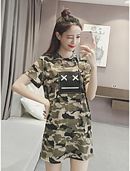Women's Going out Simple Loose Dress,Camouflage Round Neck Above Knee Short Sleeve Green Cotton Summer