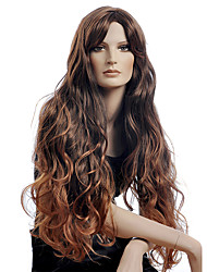Long Style Sexy Wave Women Wigs Guleless Dark Brown Color Synthetic Wigs