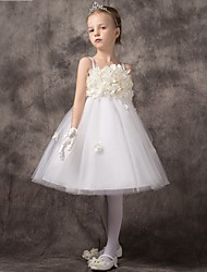 A-line Short / Mini Flower Girl Dress - Tulle Sleeveless Spaghetti Straps with Flower(s)