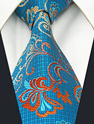 Men's Paisley Tie Blue Jacquard Woven 100% Silk Business Dress Casual Long
