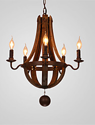 5 Heads Vintage Country Style Chandelier Metal+Wood Living/Dining/Office/Hallway Art Deco Fixture