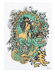 1pc Sexy Women Men Flower Body Arm Sleeve Art Tattoo Japanese Geisha Girl Dragon Temporary Tattoo Sticker HB-196