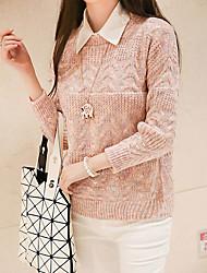 Damen Standard Pullover-Lässig/Alltäglich Einfach Solide Rosa / Beige Rundhalsausschnitt Langarm Polyester Frühling / Herbst Mittel
