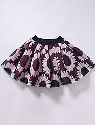 Mädchen Kleid / Rock-Lässig/Alltäglich Blumen Baumwolle / Polyester Frühling / Herbst Rot