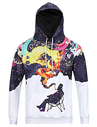 Men's Print Casual / Sport Hoodie,Cotton / Polyester Long Sleeve Smoking Man Printed 3D Hoodie