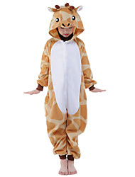 Kigurumi Pajamas New Cosplay® Giraffe Leotard/Onesie Festival/Holiday Animal Sleepwear Halloween Orange Patchwork Flannel Kigurumi For Kid