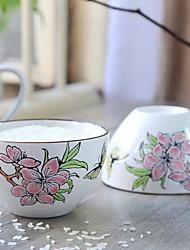 4,5 дюйма / 6 дюймов ручная роспись керамическая чаша (случайный стиль)