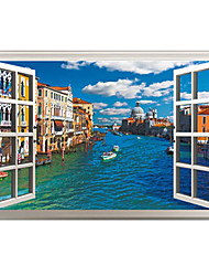 3D False Window Design Venice City Landscape 3D Wall Stickers Fashion PVC Living Room Bedroom Wall Decals