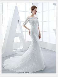 Trumpet / Mermaid Wedding Dress Sweep / Brush Train Bateau Tulle with Appliques / Beading
