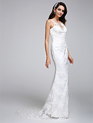 LAN TING BRIDE Trumpet / Mermaid Wedding Dress Floral Lace Court Train Scoop Lace with Lace