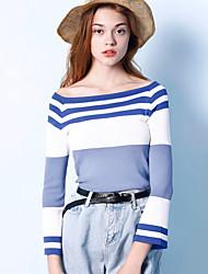 Mujer Regular Cardigan Noche Simple,A Rayas Azul Escote Barco Manga Larga Poliéster Otoño Medio