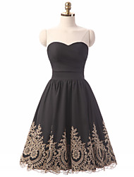 Knee-length Stretch Satin Bridesmaid Dress - Mini Me A-line Sweetheart with Ruffles