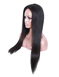 cheveux vierges naturelle couleur noire glueless pleine dentelle brazilian soie perruque 18-30 pouces droites perruques de cheveux humains