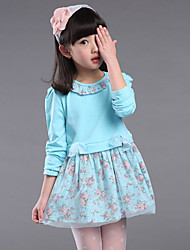 Girl's Casual/Daily Floral Dress,Cotton Fall Blue / Pink / Yellow