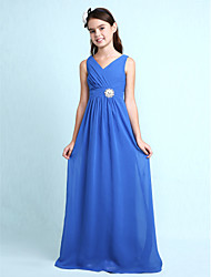 Lanting Bride® Floor-length Chiffon Junior Bridesmaid Dress Sheath / Column V-neck with Crystal Detailing / Criss Cross