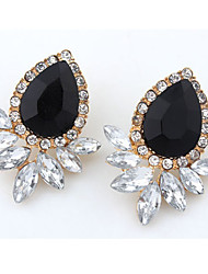 Stud Earrings Drop Earrings Gemstone Simulated Diamond Alloy Fashion Oval Drop Black Rose Jewelry Daily Casual 1 pair