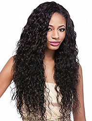 Fashion Water Wave Hot Selling Long Bouncy Natural Black Wig Quality Heat Resistant Hair Synthetic Lace Front Wig