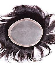 """100% человеческих волос мужской тупею 9 """"x6"""" моно база с 1 """"Пу все вокруг естественный черный цвет мужских париков волос тупею"""