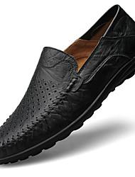 Kényelmes Mokaszin-Lapos-Női cipő-Papucsok & Balerinacipők-Alkalmi-Bőr-Fekete Barna Sárga