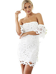 Women's Party/Cocktail Sexy Lace DressSolid Strapless Above Knee Short Sleeve White Rayon / Polyester  Micro-elastic