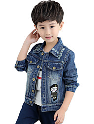 Boy's Cotton Spring/Autumn Fashion Cartoon Patchwork Long Sleeve Cowboy Outerwear Denim Jacket Coat