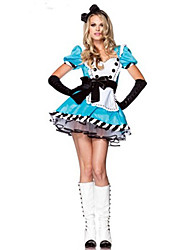 Cosplay Costumes Princess Fairytale Maid Costumes Festival/Holiday Halloween Costumes Blue Patchwork Dress More AccessoriesHalloween