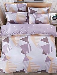 bedtoppings edredón cubierta 4pcs del duvet edredón hoja plana establecer el tamaño de la reina funda de almohada patrón de colores imprime microfibra