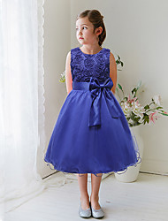 A-line Knee-length Flower Girl Dress - Satin / Tulle Sleeveless Jewel with Appliques / Bow(s)