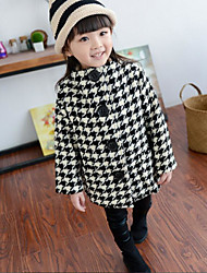 Girl's Casual/Daily Check Jacket & CoatCotton Black
