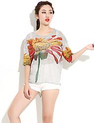 HANBELLE® Damen Rundhalsausschnitt 1/2 Länge Ärmel T-Shirt Weiß / Grau / Mandelfarben-9006#