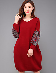 YANG X-M Women's Going out Simple Loose DressSolid Round Neck Above Knee Long Sleeve