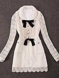 Damen Patchwork Einfach Lässig/Alltäglich Mantel,Winter Hemdkragen Langarm Weiß Mittel Polyester