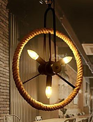 American Country Vintage Wrought Iron Chandelier Rope Wheel